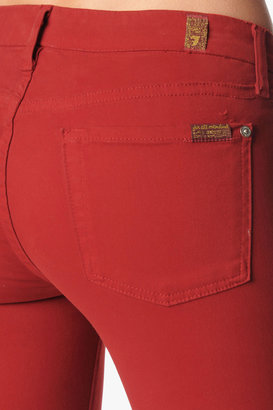 7 For All Mankind The Skinny In Flame Red Brushed Twill