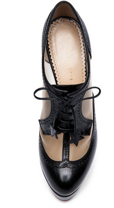 Charlotte Olympia Astaire Broque Leather Bootie in Black