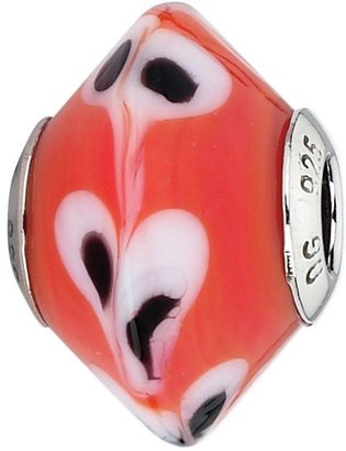 Murano Prerogatives Red w/White, Black Raindrops Italian Bead