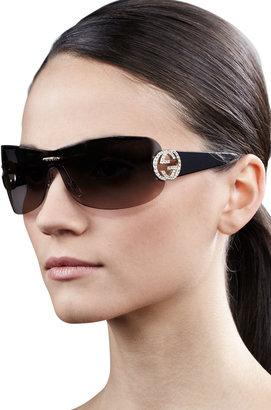 Gucci Interlocking GG Shield Sunglasses, Black