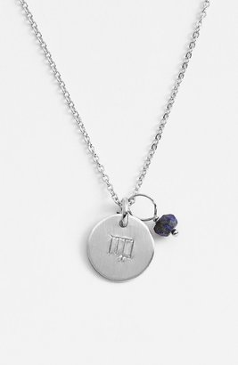 Nashelle Semiprecious Birthstone Sterling Silver Zodiac Mini Disc Necklace