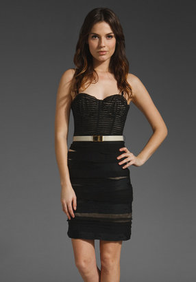 Alice + Olivia Paves Ruched Bustier Dress with Belt in Black/Nude