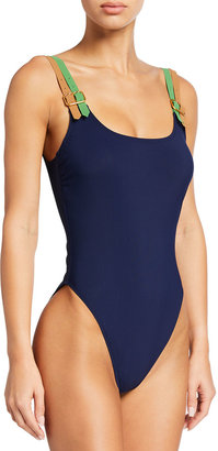 Tory Burch Buckle Tank One-Piece Swimsuit