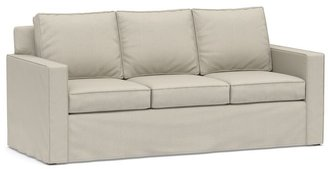 Pottery Barn Cameron Square Arm Slipcovered Sleeper Sofa with Memory Foam Mattress