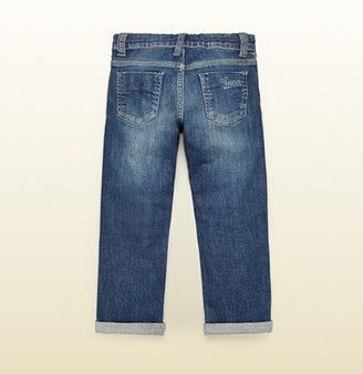Gucci Blue Stretch Denim Regular Fit Pant