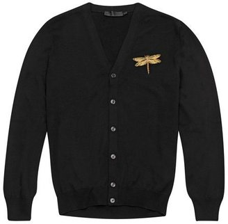 Alexander McQueen Dragonfly Embroidered Black Cardigan