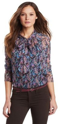 Cynthia Rowley Women's Printed Tie Neck Blouse