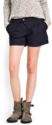 MANGO Outlet Pleated Cotton Shorts