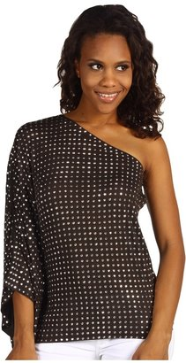MICHAEL Michael Kors HT Studded One Shoulder Top (Bark) - Apparel
