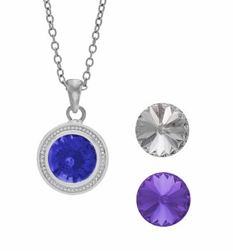 Swarovski Illuminaire Interchangeable Crystal Silver-Plated Halo Pendant Set - Made with Crystals