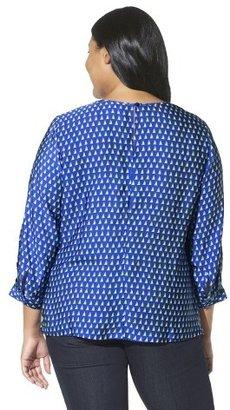 Merona Women's Plus Size Blouse Capri Blue Print