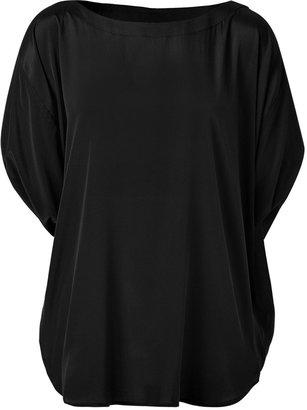 DKNY Black Dolman Sleeve Silk Top
