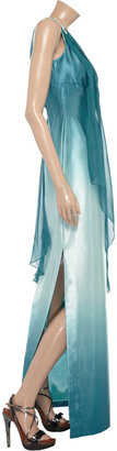 Mikael Aghal Crystal-embellished satin and chiffon ombré dress