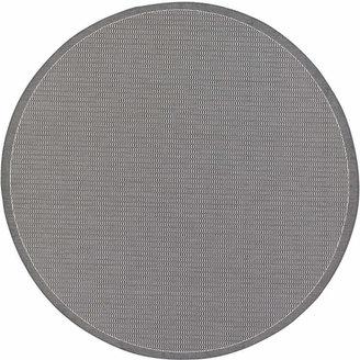 """Couristan Round Rug, Indoor/Outdoor Recife 1001/3012 Saddle Stitch Grey-White 7'6"""""""