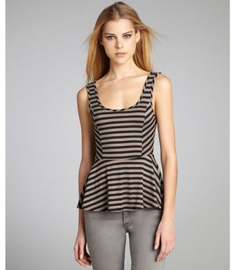 Casual Couture by Green Envelope ash and black striped peplum tank