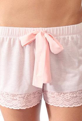 Forever 21 Micro-Stripe Lace Trim PJ Shorts