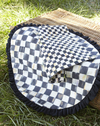 Mackenzie Childs MacKenzie-Childs Courtly Check Round Placemat with Black Ruffle