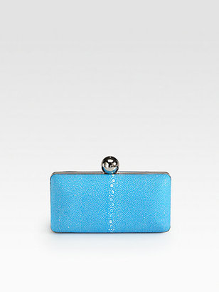 Milly Madison Stingray Embossed Leather Minaudiere Clutch