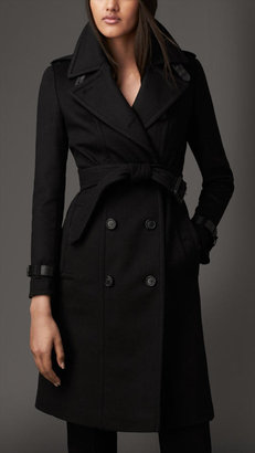 Burberry Leather Trim Wool Cashmere Trench Coat