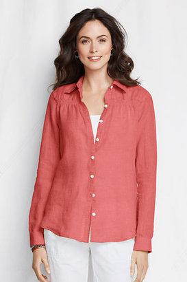 Lands' End Women's Petite Long Sleeve Linen Smocked Shirt