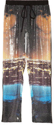 Clover Canyon Printed sequined georgette pants