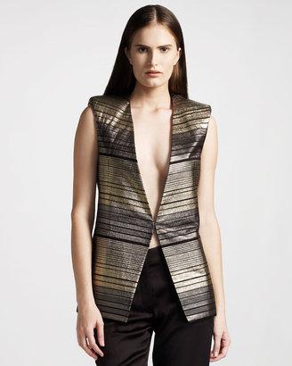Balmain Metallic Striped Vest