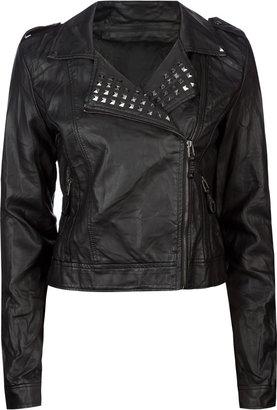 Ashley Studded Faux Leather Womens Biker Jacket