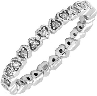 Simply Stacks Sterling and Diamond 2.25mm HeartEternity Ring