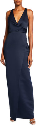 Jay Godfrey Kingston V-Neck Sleeveless Wrap Front Gown