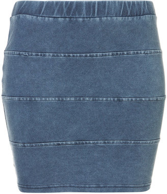 Denim Look Panel Bodycon Skirt