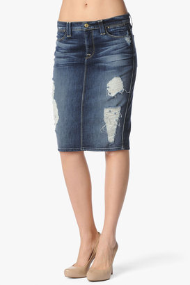 7 For All Mankind Vintage 7 Collection: Pencil Skirt In Rich Dark Destroyed