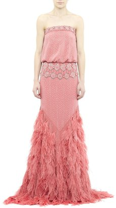 Nicole Miller Coral Feathered One-of-a-Kind Gown
