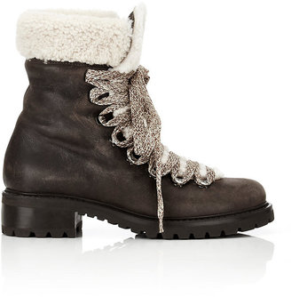 Barneys New York Women's Shearling-Lined Garnet Ankle Boots-DARK BROWN $545 thestylecure.com