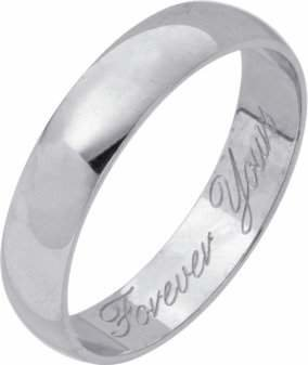 Revere 9ct White Gold Heavyweight Message Wedding Ring