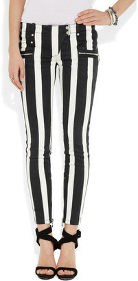 Balmain Striped low-rise skinny jeans