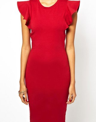 Asos Body-Conscious Dress With Structured Ruffle Sleeve