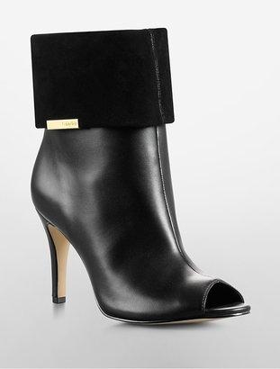 PeepToe Kaiya Suede + Leather Peep-Toe Convertible Bootie
