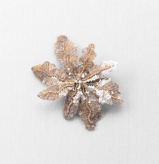 LOFT Gold Bead & Sequin Flower Pin
