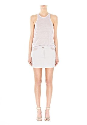 Alexander Wang Cotton Canvas Twill Jeanskirt With Leather Yoke