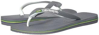 Havaianas Brazil Mix Flip Flops (Steel Grey/White/White) Men's Sandals