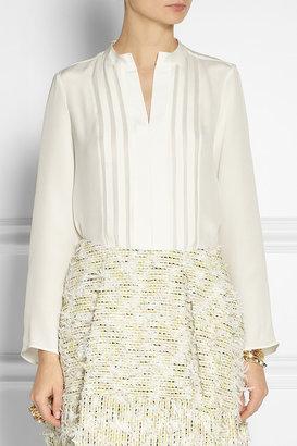 Derek Lam Georgette-paneled silk shirt