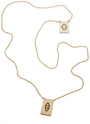 Jennifer Zeuner Jewelry Santorini Hamsa/Eye Necklace in Gold