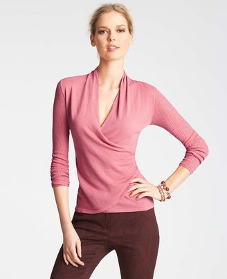 Ann Taylor Ribbed Sleeve Wrap Sweater