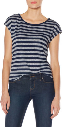 The Limited OBR Striped Buttoned Shoulder Top