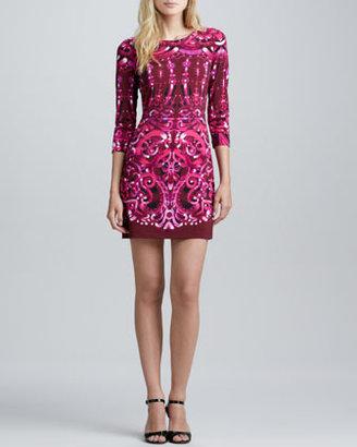 Ali Ro Swirl-Print Fitted Jersey Dress