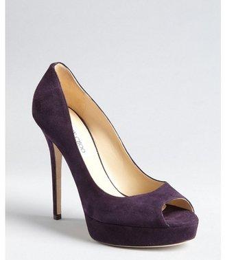 Jimmy Choo violet suede 'Crown' peep toe platform pumps
