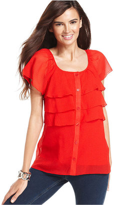 Amy Byer Top, Cap-Sleeve Ruffle Pin-Dot-Print