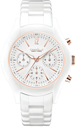 Caravelle New York by Bulova Women's Chronograph White Ceramic Bracelet Watch 36mm 45L144 $175 thestylecure.com