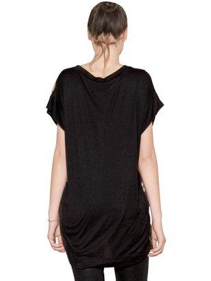 Just Cavalli Oversize Printed Satin Jersey T-Shirt