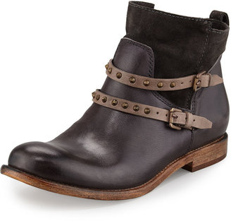 Alberto Fermani Emma Stud-Strap Flat Boot, Anthracite